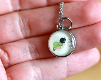 SMALL Girl&Kitty PENDANT - Handmade resin pendant with stainless steel chain - Perfect for little girls