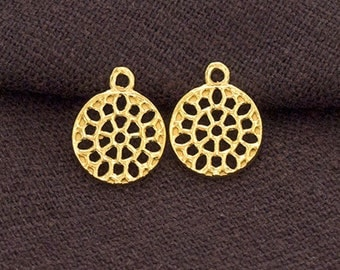 2 of 925 Sterling Silver 24k Gold Vermeil Style Filigree Disc Charms 10.5mm.  :vm0841