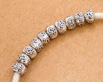 20 of Karen Hill Tribe Silver Ohm Imprinted Beads 5x3.5 mm. :ka4284