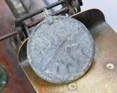 Antique metal pendant, charm, round, connector, part, primitive finding
