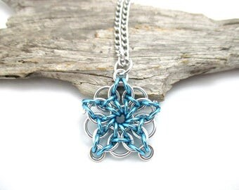Blue & Silver Star Chainmaille Pendant - Celtic Star Pendant Necklace