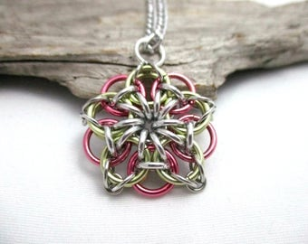 Pink & Yellow Chainmail Star - Star Chainmaille Pendant - Celtic Star Pendant Necklace
