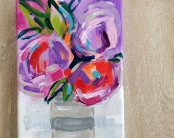 Small original floral painting // 5x7 original painting // flowers in a vase // art