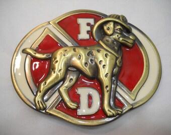 Fire Department Belt Buckle Dalmation Dog Brass Belt Buckle FREE SHIPPING