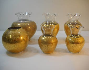 Lot Of 6 Lotus Glastonbury Crystal Vases Daisy & Floral Pattern FREE SHIPPING