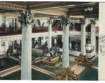 Hotel Utica Reception Lobby from Mezzanine Postcard, Upstate New York, Antique 1912 Victorian Hand-Colored Ephemera, FREE SHIPPING
