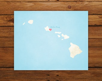 Customized Printable Hawaii State Map - DIGITAL FILE, Aged-Look Personalized Wall Art