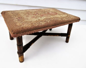 Antique Footstool, Bamboo Stool, Tapestry Bench, Wood Foot Stool