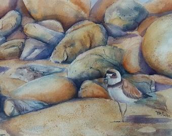 original watercolor, Sunset Beach stroll