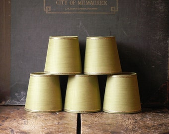 Vintage Set of 5 Spring Green Linen Chandelier Shades with Gold Detailing