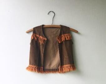 1960s BOHO Corduroy and Fringe Unisex Kids Vest // Size 3-5