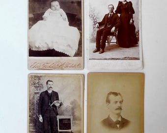 ON SALE Antique Victorian sepia CDV studio portrait photographs