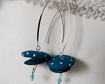Earrings in blue fabric with dots