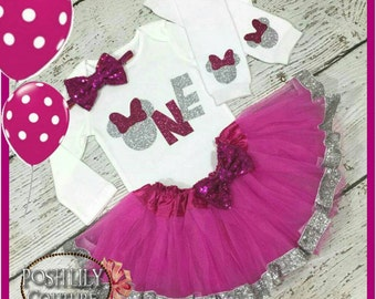 Minnie Mouse first birthday outfit, minnie mouse ONE outfit, minnie  ONE bodysuit, minnie mouse hot pink and silver smash cake outfit