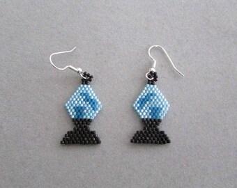 Blue Beaded Lava Lamp Earrings