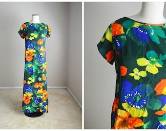 vintage 60s 70s green orange yellow floral maxi Hawaiian dress -- womens medium large