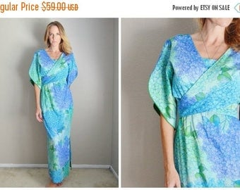 Memorial SALE - 15% off - vintage 60s blue green hydranegea floral flower maxi kimono style wrap dress -- small