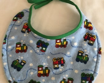 BABY BIB Boy Choo Choo Train Snuggle Absorbant Terry Cloth