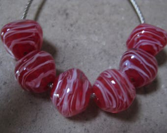 Lampwork Glass Beads. Red Glass Diamond Beads. Pink Filigrana. Handmade Glass Beads. Australian Artisan Glass Beads. Kiln Fired Glass Beads.