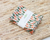 Small Cloth Napkins - Set of 4 - (N4742s) - Orange Carrots Modern Reusable Fabric Napkins