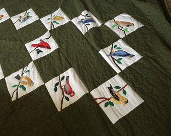 Appliqued Bird quilt, hand made