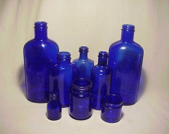 c1930s Group Collection of 8 Cobalt Blue Glass Medicine Bottles, Great Wedding Decor