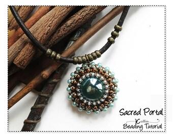 Beading Pattern Right Angle Weave Big Bezelled Marble Pendant Beading Instructions DIY Beaded Jewelry Tutorial PDF Download SACREDPORTAL