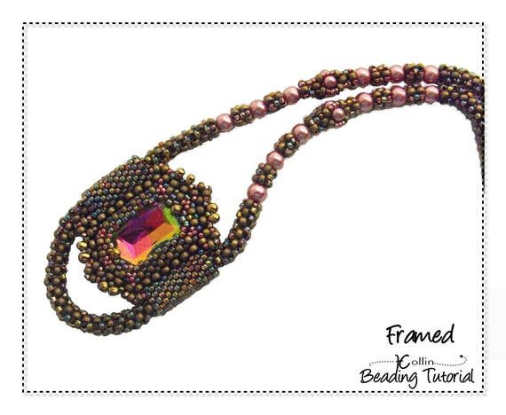Beading Pattern Cubic Right Angle Weave Necklace Bezeled Rectangular Crystal Instructions DIY beaded Jewelry Tutorial PDF Download FRAMED