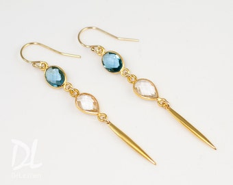 Minimal Jewelry - Spike Earrings - Long thin Gold Earrings - Blue Topaz Long Gold Dangle Earring - Needle Earrings - Modern Earrings