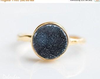 40 OFF SALE - Black Druzy Ring - Grey Druzy Ring - Gemstone Ring - Stacking Ring - Gold Ring - Round Ring
