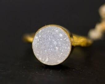 40 OFF - Round Druzy Ring Gold - April Birthstone Ring - Gemstone Ring - Stacking Ring - Gold Ring - Round Ring