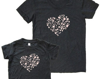 Mothers Day Mother Daughter Matching Hearts Shirts - Mommy and Me Shirts, Tshirt Set T shirt gift, mom shirt, mother daughter, girl