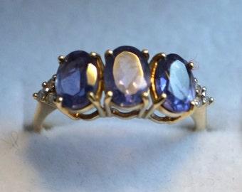 Vintage Three Stone Amethyst and Diamond Gold Ring