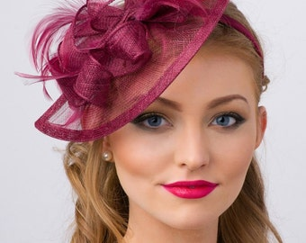 "Wine Fascinator - ""Penny"" Mesh Hat Fascinator with Mesh Ribbons and Wine Feathers"
