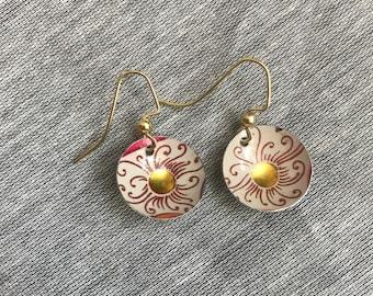 Sunburst Domed Recycled Tin Earrings
