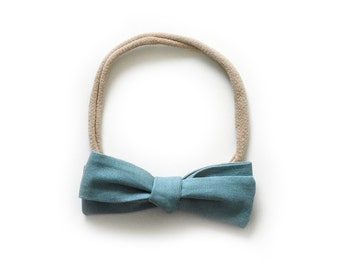 Baby Bow Headband - Blue Tied Bow - Kids Hair Accessory