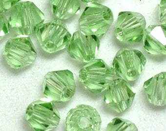New! Bulk 6mm Crystal Bicones Translucent Light Apple Green Bead Set of 20, 50, and 100 pieces - 5301 Supplies  AC-B6-025-R