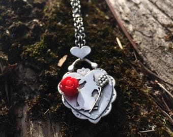 Sterling Silver and Coral necklace - Folklore Series - Hare Totem