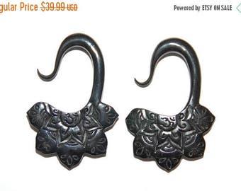 ON SALE Beautiful Om Lotus Flower Horn Earrings 4ga (5mm), 2ga (6mm)