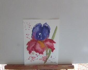 Contemporary Iris, 6 x 8 original watercolor