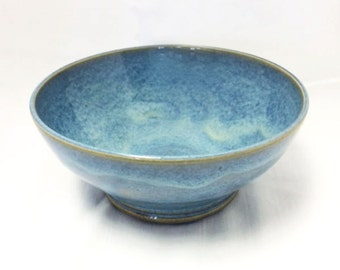 Blue Ceramic Bowl with Carved Bottom, Light Blue and Dark Blue Ceramic Bowl, Ceramic Soup Bowl, Ceramic Cereal Bowl, Ceramic Salad Bowl