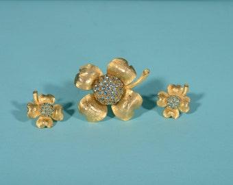 Vintage 1950s Hobe Dogwood Set - Pin Brooch Earrings - Blue Rhinestones 1960s