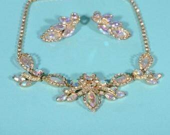 Vintage 1950s Rhinestone Necklace Earrings - Aurora Borealis Set - Wedding Fashions