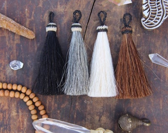 "Horse Hair Tassels: Handmade, Natural Colors, Rustic Bohemian Jewelry Making Supply, Keychain, Western, 4.5"" 1 Tassel"