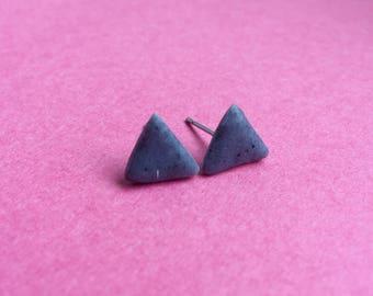Triangle earrings, grey earrings, granite earrings, granite studs, clay earrings, clay studs, polymer clay earrings