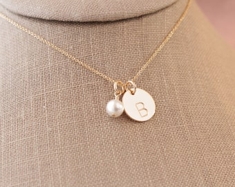 """Gold-Filled 1/2"""" Initial Pendant and Swarovski Pearl Necklace - Mom Mother Mommy Children Family Wedding Bridal Party Bride's Gift  BP-110"""