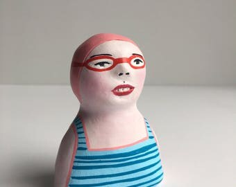 Clay figurine // SWIMMER 85 clay sculpture // totem // blue striped bathing suit // pink swim cap & goggles // original art