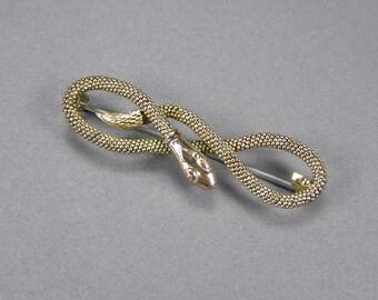 Antique Snake Brooch, Pinchbeck, Signed, Edwardian, Vintage Jewelry