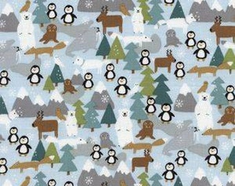 Timeless Treasures. Eskimo Kiss. Ice Penguins - Cotton fabric - By the Yard - Choose your cut