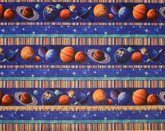 Northcott. Across The Universe. Planet Stripe - Cotton fabric - By the Yard - Choose your cut
